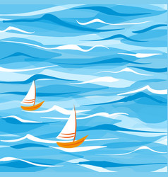sea background with two boats vector image vector image
