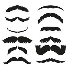 Silhouette black white mustache hair vector