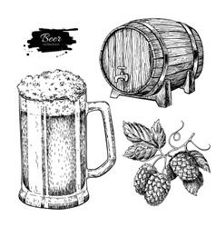 Beer set Alcohol beverage hand drawn vector image