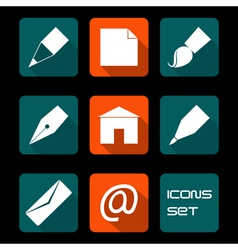 Stationery and art icons vector image vector image