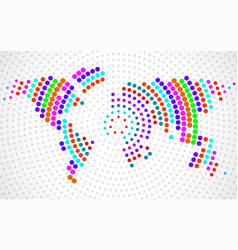 abstract colorful world map of radial dots vector image