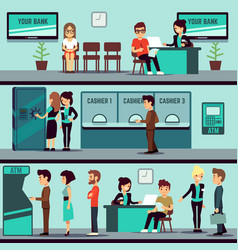 bank office interior with people clients and bank vector image