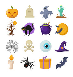 Halloween cartoon cute characters vector
