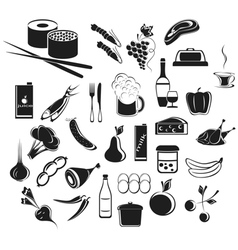 Icons food and beverages vector image vector image