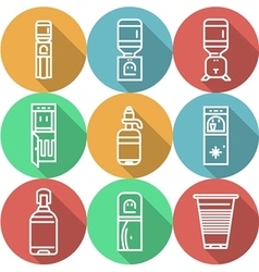 Items for water coolers colored icons vector image vector image