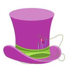 purple wizards hat with green ribbon and sewing vector image