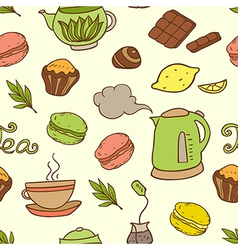 seamless pattern with teapot and cakes vector image vector image