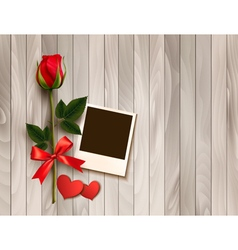 Valentines day background with photo hearts and a vector image vector image