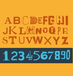 vintage retro alphabet with numbers vector image vector image