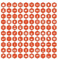 100 donation icons hexagon orange vector