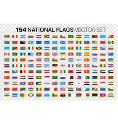 154 national flags set isolated on transparent vector image