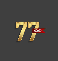 77 years anniversary simple design with golden vector