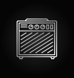 amplifier silver outline icon on dark background vector image