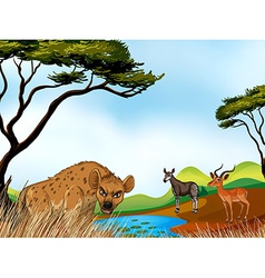 Animals and field vector image