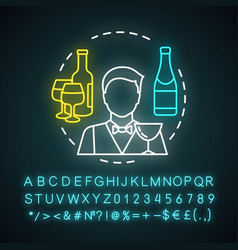 Bartender neon light icon barman barkeeper vector