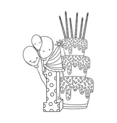 Birthday cake with balloons and number in black vector