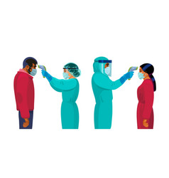 Body temperature check medics in protective suits vector