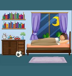 boy sleeping in bedroom at night vector image
