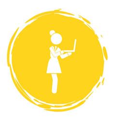 Businesswoman with laptop in hands looking vector