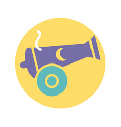 Canon with moon icon block style design vector