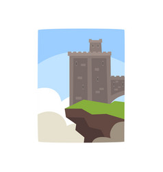 cartoon gray castle with little turret on edge of vector image