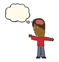 cartoon man with brain with thought bubble vector image