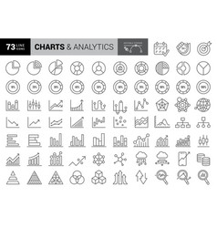charts and diagrams line icons report 3d chart vector image