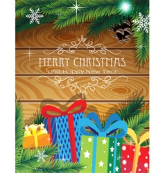 Christmas Gifts on wooden background vector