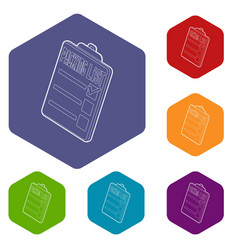 Clipboard with packing list icons vector