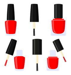 colorful cartoon red nail polish silhouette set vector image