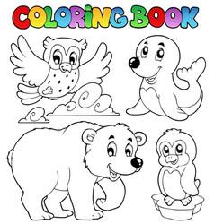 coloring book happy winter animals vector image