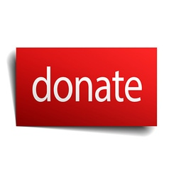Donate red square isolated paper sign on white vector