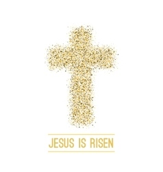 Easter background he is risen gold vector