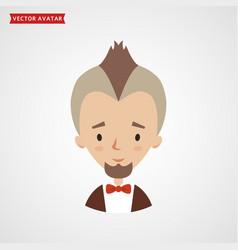 Face bearded man with mohawk avatar vector