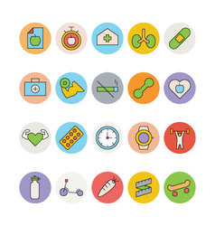 Fitness and Health Colored Icons 6 vector image