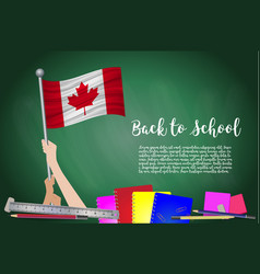 Flag of canada on black chalkboard background vector
