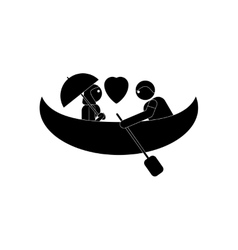 Flat icon in black and white style boy girl Boat vector