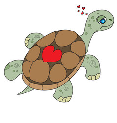 floating turtle with heart on her armor vector image