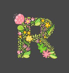 Floral summer letter r flower capital wedding vector