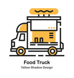 Food truck lineal color vector
