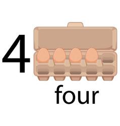 Four egg in carton vector