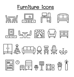 furniture icon set in thin line style vector image