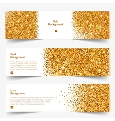 Golden Glitter banners set vector