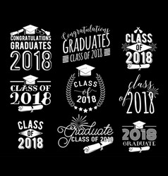 Graduation wishes overlays labels set monochrome vector
