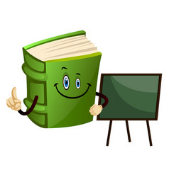 Green book is a teacher on white background vector