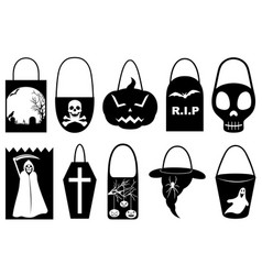 halloween trick or treat bags vector image