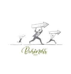 Hand drawn business people running with indicators vector image