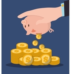Hand holding piggy pile coins vector
