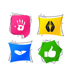 hand icons like thumb up and insurance symbols vector image