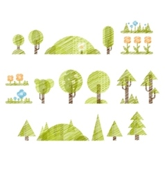 Handdrawn Trees and Flowers Set Collection of vector
